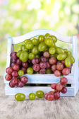 Ripe green and purple grapes in basket on wooden table on natural background — Stock Photo
