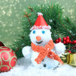 Beautiful snowman and Christmas decor, on bright background — ストック写真