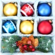 Beautiful packaged Christmas balls, close up — Foto de stock #33663249