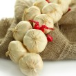 Vintage garlic and pepper decoration, on sackcloth, isolated on white — Stock Photo #33665039