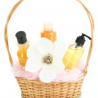 Gift basket with cosmetics isolated on white — Stock Photo