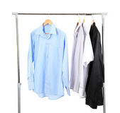 Office male clothes on hangers, isolated on white — Stock Photo