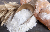 The wholemeal flour in scoop on wooden table — Stock Photo