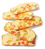 Biscotti with candied fruits, isolated on white — Stock Photo