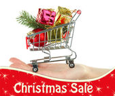 Hand holding Christmas gifts in shopping trolley, isolated on white — Stock Photo