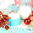 Stock Photo: Beautiful Christmas composition with milk close-up