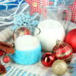 Beautiful Christmas composition with milk close-up — Lizenzfreies Foto
