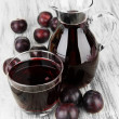 Delicious plum juice on table close-up — Stock Photo #33730953