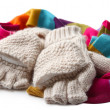 Stock Photo: Wool fingerless gloves and multicolor scarf, isolated on white