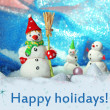 Beautiful snowmen and Christmas decor, on bright background — ストック写真