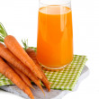 Glass of carrot juice and carrots, isolated on white — Stock fotografie