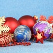 Christmas decorations on blue background — ストック写真