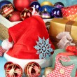 Beautiful Christmas composition with Christmas toys close-up — ストック写真
