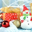 Beautiful Christmas composition with gift and Christmas toys close-up — ストック写真