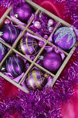 Christmas toys in wooden box close-up — ストック写真