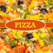 Tasty pizza with vegetables, chicken and olives close-up — Stock Photo