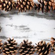 Beautiful pine cones on wooden background — Stock Photo