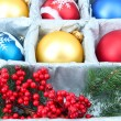 Beautiful packaged Christmas balls, close up — Stock fotografie #33931969