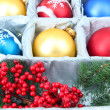 Beautiful packaged Christmas balls, close up — Stockfoto #33931969