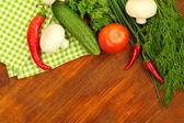 Pişirme bir kavram. ahşap masa üstünde yiyecek — Stok fotoğraf