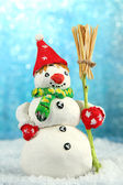 Beautiful snowman and, on bright background — Stock Photo