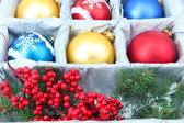 Beautiful packaged Christmas balls, close up — Photo