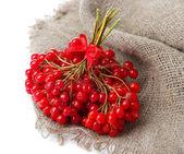 Bagas vermelhas de viburnum guardanapo de pano de saco, isolado no branco — Foto Stock