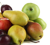 Pears with apples and plums isolated on white — Foto Stock