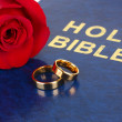 Stock Photo: Wedding rings with rose on bible