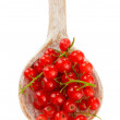 Red currant in wooden spoon isolated on white  — Stock Photo