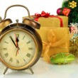 Composition of clock and christmas decorations isolated on white — Stock Photo