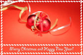 Beautiful bright Christmas balls on red background — ストック写真