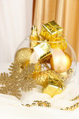 Christmas decorations in glass vase close up — Stock Photo