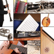 Collage of musical instruments — Stock fotografie