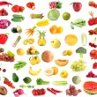 Collection of fruits and vegetables  isolated on white — Stock Photo
