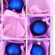 Beautiful packaged Christmas balls, close up — Stock Photo #34101705