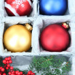 Beautiful packaged Christmas toys, close up — Стоковая фотография