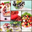 Stock Photo: Collage from berries salads
