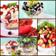 Collage from berries salads — Stockfoto #34102197