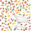 Food products  around shopping carts  isolated on white — Stok fotoğraf