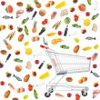 Food products around shopping carts isolated on white — Stock Photo