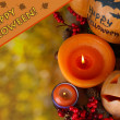 Composition for Halloween with on autumn background close-up — Stock Photo