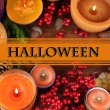 Composition for Halloween with on wooden table close-up — Stock Photo