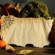 Halloween composition on dark grey  background — Stock Photo