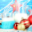 Beautiful Christmas composition with milk close-up — Stock Photo