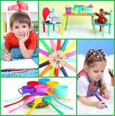 Collage of education kids — Stockfoto