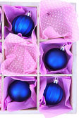 Beautiful packaged Christmas balls, close up — Стоковое фото