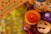 Komposition für halloween mit mit herbst hintergrund nahaufnahme — Stockfoto