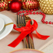 Serving Christmas table close-up — Zdjęcie stockowe