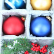 Beautiful packaged Christmas toys, close up — Stock Photo #34111843